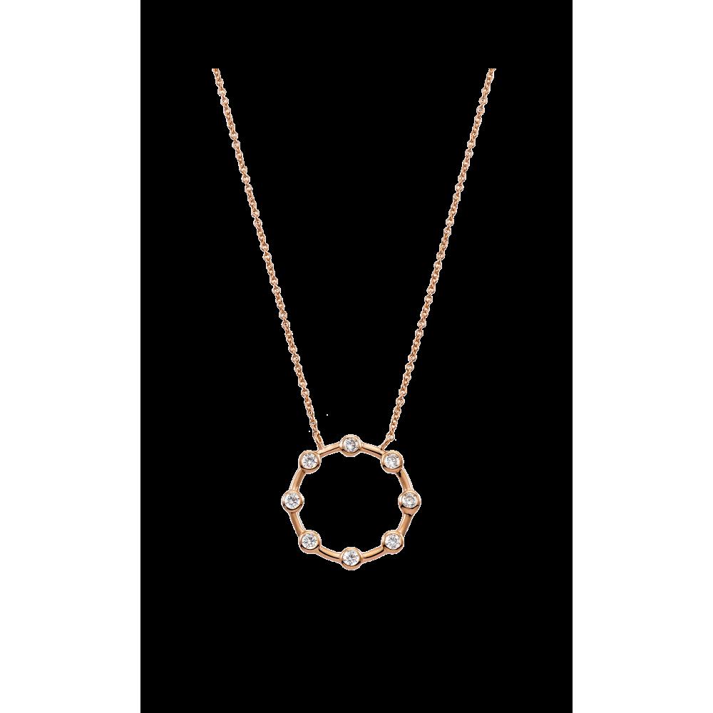 VOGUE Κολιέ 925 Ασήμι με Ζιργκόν Ροζ Επιχρυσωμένο 20175953402