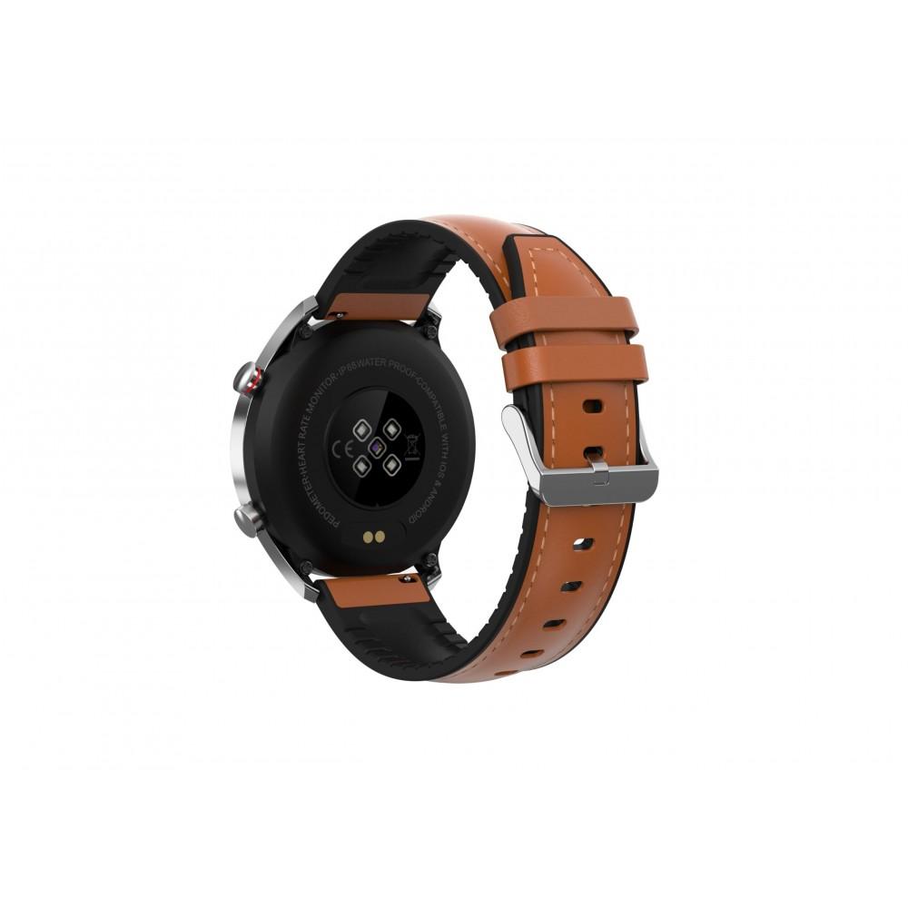 DAS.4 SG22 Smartwatch Stainless Steel Brown Leather Strap 75032