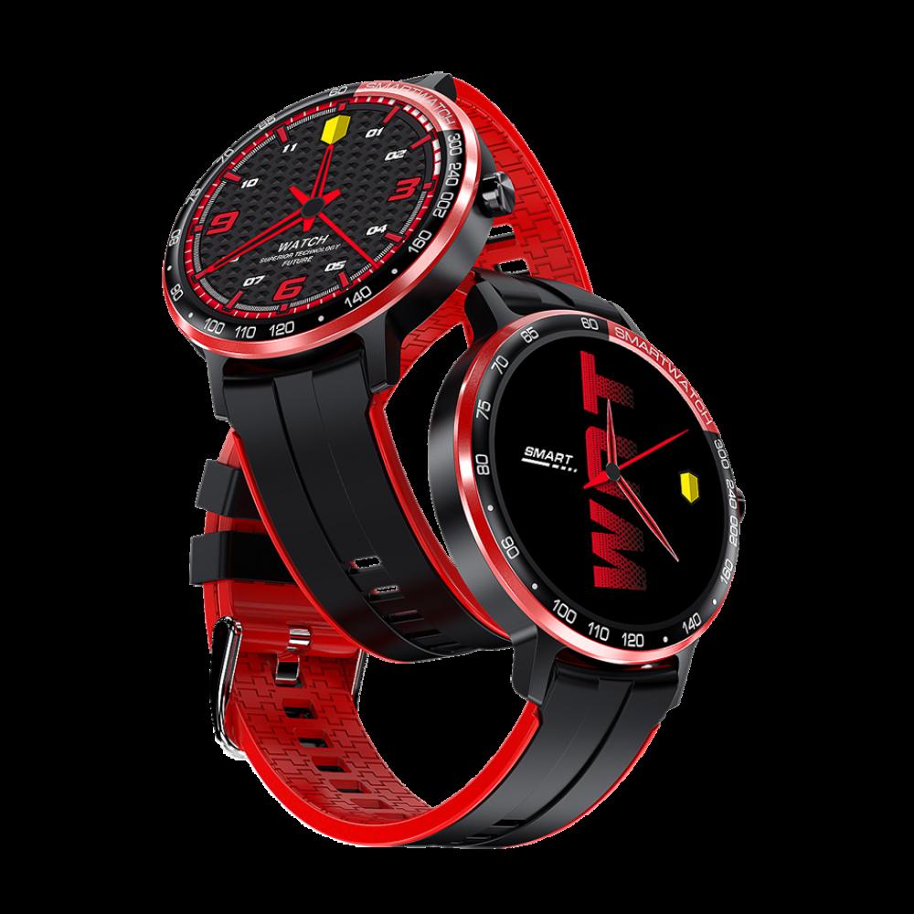 DAS.4 Smartwatch SP10 Black and Red Silicone Strap 203090061