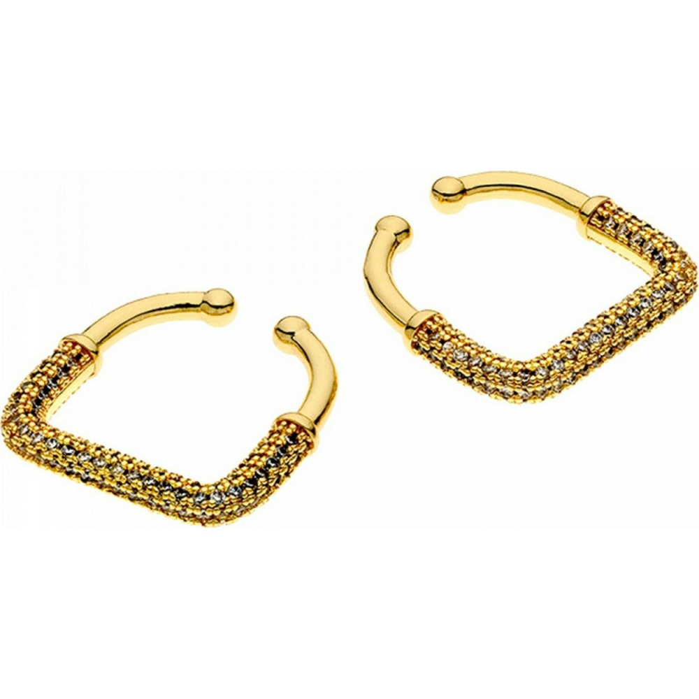 BREEZE Earrings Gold Tone Plated with Zircon Cube 210006.1