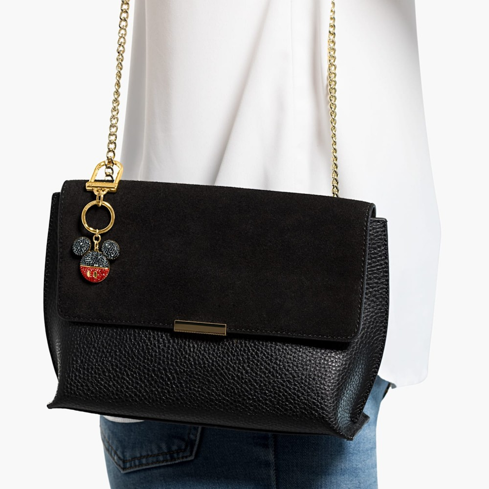SWAROVSKI Charm Bag Mickey Black Gold Tone Plated 5560954