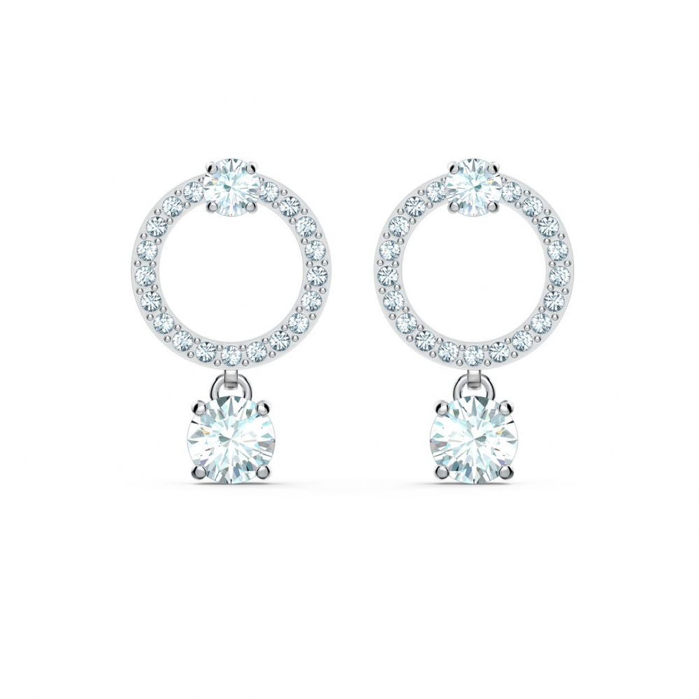 SWAROVSKI Attract Circle Pierced Earrings White Rhodium Plated 5563278