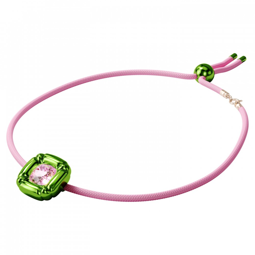 SWAROVSKI Dulcis Necklace Green & Pink Braided Cord 5601585