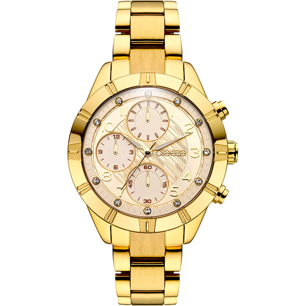 BREEZE Influentia Crystals Gold Stainless Steel Chronograph 211071.2