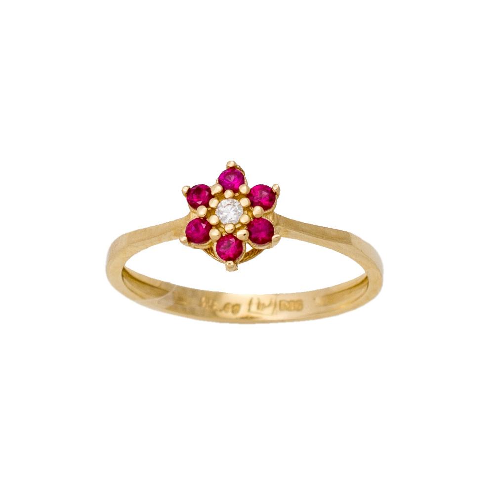 """14K Χρυσό Δαχτυλίδι """"Λουλούδι"""" με Ροζ Ζιργκόν D051898"""