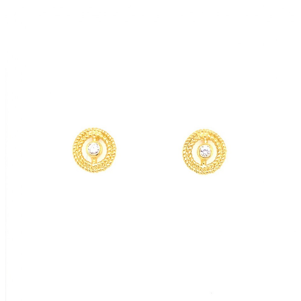 925 Silver Earrings Gold Tone Plated with White Stones AES1053GMJG