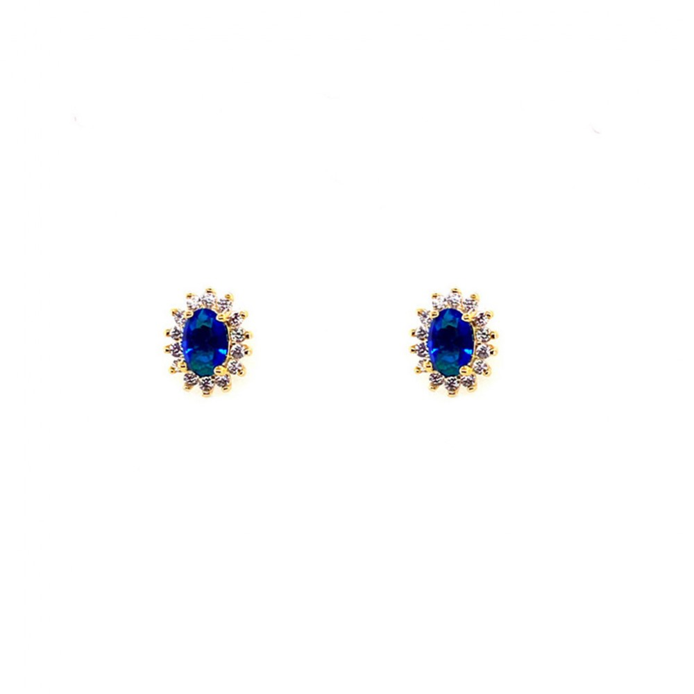 925 Silver Earrings Gold Tone Plated with Blue Stones AES1871GBMJG