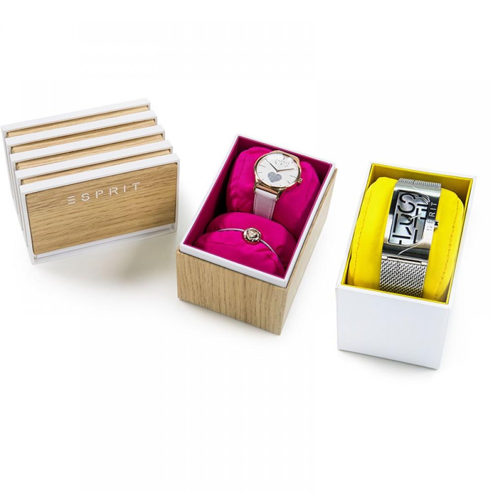 ESPRIT Slice Rose Gold Black Leather Strap ES1L056L0035
