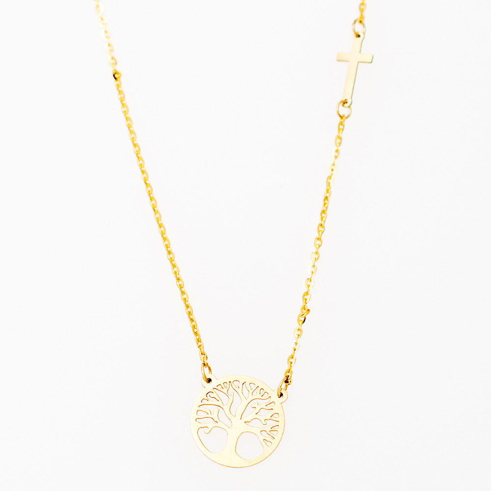 "14K Gold necklace ""Tree of Life & Cross"" KL677KG1"