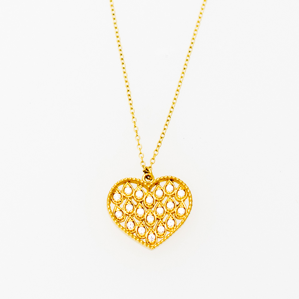 14K Gold Necklace with Zircon Cube KL777KG1