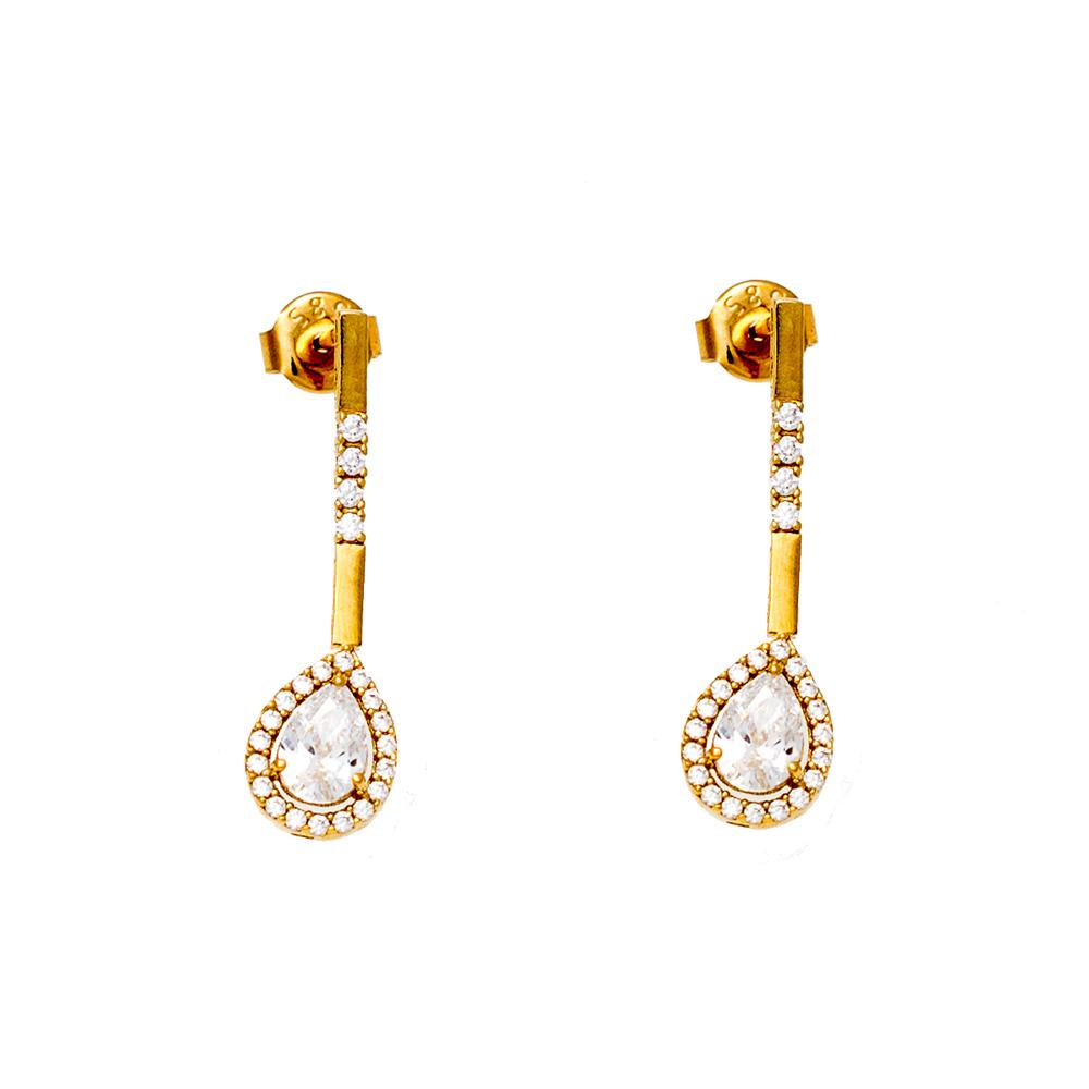 14K Gold Earrings with Zircon N2233-S1