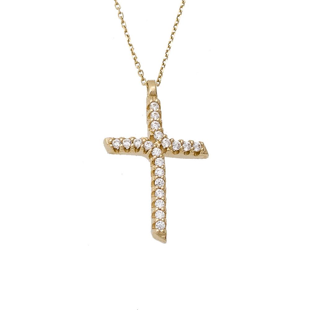 14K Χρυσό Κολιέ Σταυρός Με Αλυσίδα & Ζιργκόν S000763
