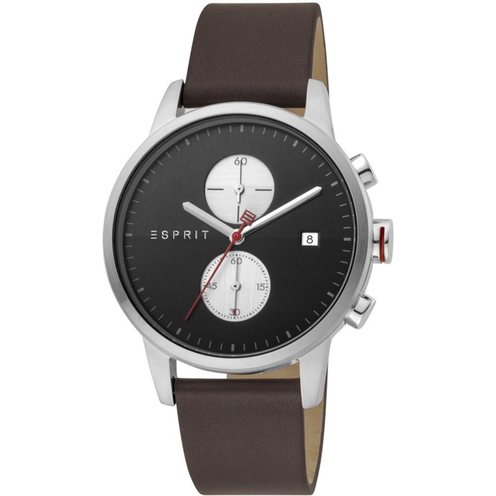 ESPRIT Linear Brown Leather Chronograph ES1G110L0035